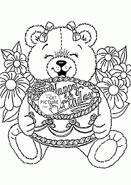 teddy bear happy birthday coloring page for kids holiday coloring