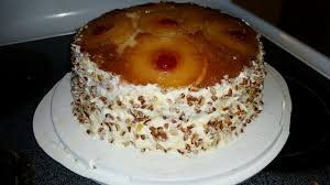double layer pineapple upside down cake with pineapple buttercream