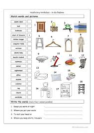 vocabulary matching worksheet in the bedroom worksheet free