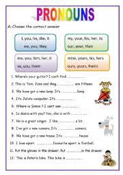 pronouns   pages english for beginners with english worksheet pronouns   pages english for beginners from eslprintablescom