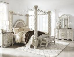 south coast bedroom set cassimore north shore pearl silver upholstered poster canopy bedroom