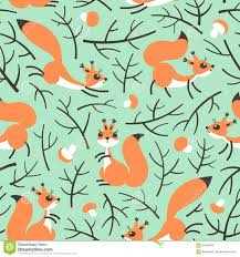 little cute squirrels in the fall forest seamless autumn pattern