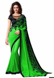 women chiffon parrot green colour embroidey lace border work