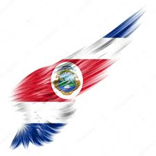 Costarican Flag Costa Rica Flag On Abstract Wing With White Background U2014 Stock