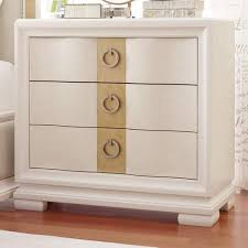 gold accent three drawer nightstand