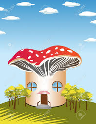 fantasy cartoon background with a mushroom shape house royalty