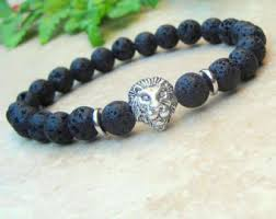 black beaded charm bracelet images Mens lion bracelet etsy jpg