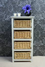 White Tallboy Bedroom Unit Gloucester Petite 4 Rattan Basket Drawer Storage Unit Tallboy