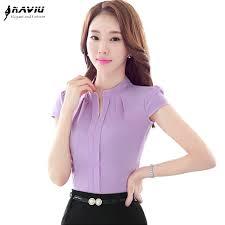 lavender blouses v neck formal blouse summer ol fashion slim