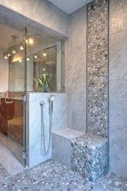bathroom tile ideas for shower walls spruce up your shower by adding pebble tile accents click the pin