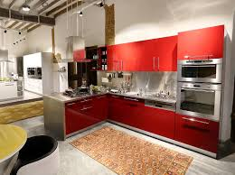 charming small l shaped kitchen design with red white accents