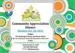 October Dinner Ideas Community Appreciation Dinner October 28 Mydorchester