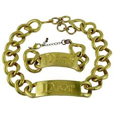 chain set necklace bracelet images Christian dior rare chunky gold plated necklace and bracelet set jpg