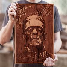 frankenstein wood engraving laser cutting service laser