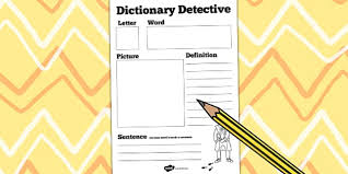 dictionary detective worksheet dictionary literacy english