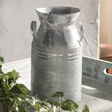 Galvanised Vases Galvanized Metal Wall Vase Wayfair
