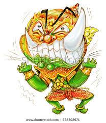 thai giant cartoon acting pressure frantic stock illustration
