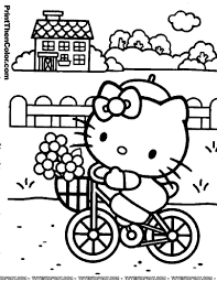 hello kitty color page cartoon characters coloring pages color