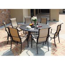 Round Garden Table With Lazy Susan by Darlee Monterey 8 Piece Sling Patio Dining Set With Lazy Susan