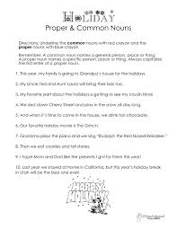 christmas holiday themed proper vs common nouns worksheet free