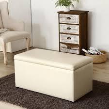 belleze 3pc storage ottoman bench footrest large set cream faux