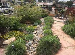 drought tolerant landscape design plans with stone architecture