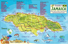 World Map Jamaica by Jamaica Dive Map U0026 Coral Reef Creatures Guide Franko Maps