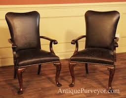 Nail Trim For Upholstery Leather Upholstered Dining Room Arm Chairs With Queen Anne Feet
