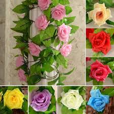 wholesale artificial flowers wholesale 245cm silk roses vine artificial flowers with