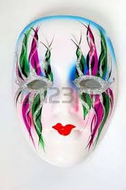 decorative white mask with colorful ornamental pattern