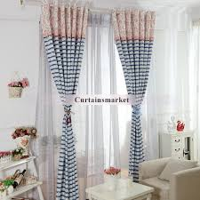Blue Striped Curtains Blue Striped Curtains In Nautical Style With Stars