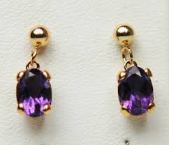 9 carat gold earrings amethyst 9 carat yellow gold earrings amea3