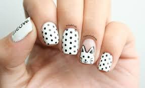 polish pals white cat and polka dot nails