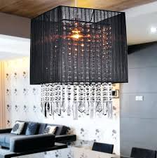 crystal chandelier with black drum shade rectangular crystal