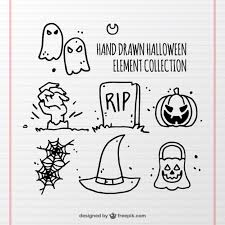 sketches of halloween elements vector free download