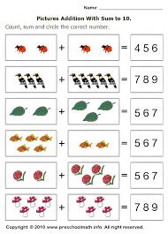 free preschool addition math worksheets