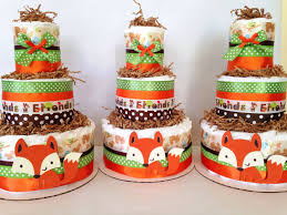 forest friends woodland diaper cake fox theme baby shower