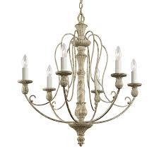 Vintage Candle Chandelier Shop Kichler Hayman Bay 27 In 6 Light Distressed Antique White
