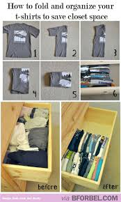 how to fold and organize your t shirts to save closet space b