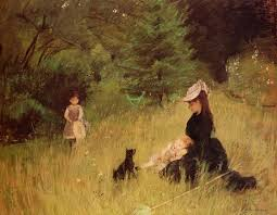 the monet family in their garden at argenteuil in a park c 1874 berthe morisot wikiart org