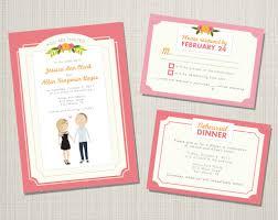 invitation card cartoon design wedding invitation suite custom cartoon printable design mimosa