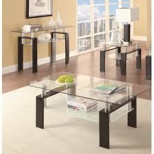glass coffee table set of 3 glass coffee table sets you ll love wayfair