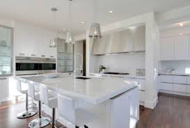 spacious space of modern kitchen designed in futuristic concepts