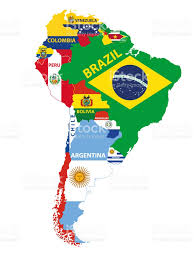Maps Of South America South America Map Mixed With Countries Flag Vector Illustration