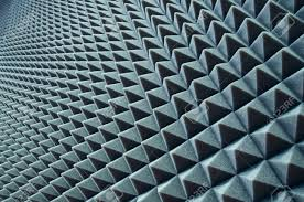 close up of sound proof coverage in music studio stock photo