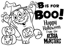 alpha monsters halloween colouring