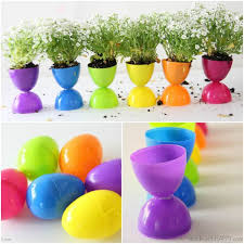 Easter Decorations With Plastic Eggs by Plastic Easter Egg Flower Pots Made With Happy