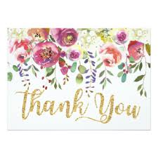 floral watercolor thank you invitations announcements zazzle