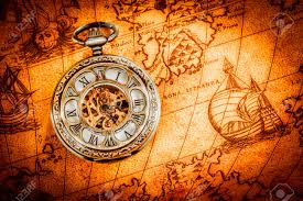 Ancient World Map by Vintage Antique Pocket Watch On An Ancient World Map In 1565