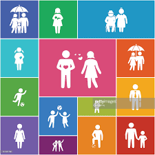 minimalist family and friends icons vector art getty images